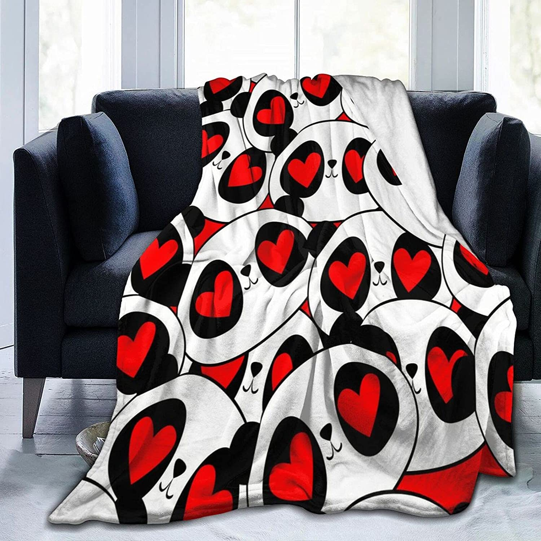Kawaii Panda Red Love Sale price Fleece Flannel Bl Blanket Sale Special Price Throw Ultra-Soft
