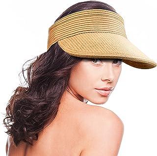 Maylisacc Sun Visor for Women Rollable, Summer Straw Visor Hat Adjustable for Golf Running Cycling Fishing Tennis Jogging