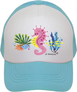 JP DOoDLES Seahorse Hat Kids Trucker Hat. Baseball Mesh Back Cap fits Baby, Toddler and Youth