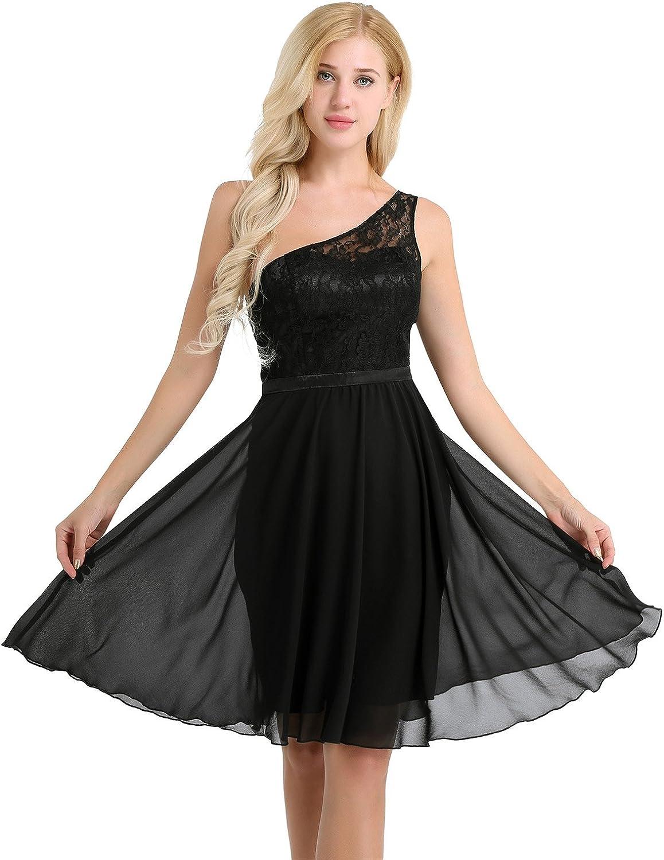 iEFiEL Cocktail Chiffon Lace Dress One Shoulder Prom Formal Dresses for Women Bridesmaid Dresses Short