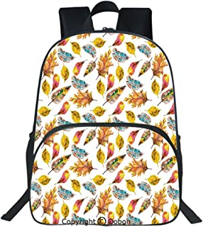 Oobon Kids Toddler School Waterproof 3D Cartoon Backpack, Fall Season Inspired Leaf Designs Nature Inspired Foliage Abstract Arrangement Decorative, Fits 14 Inch Laptop