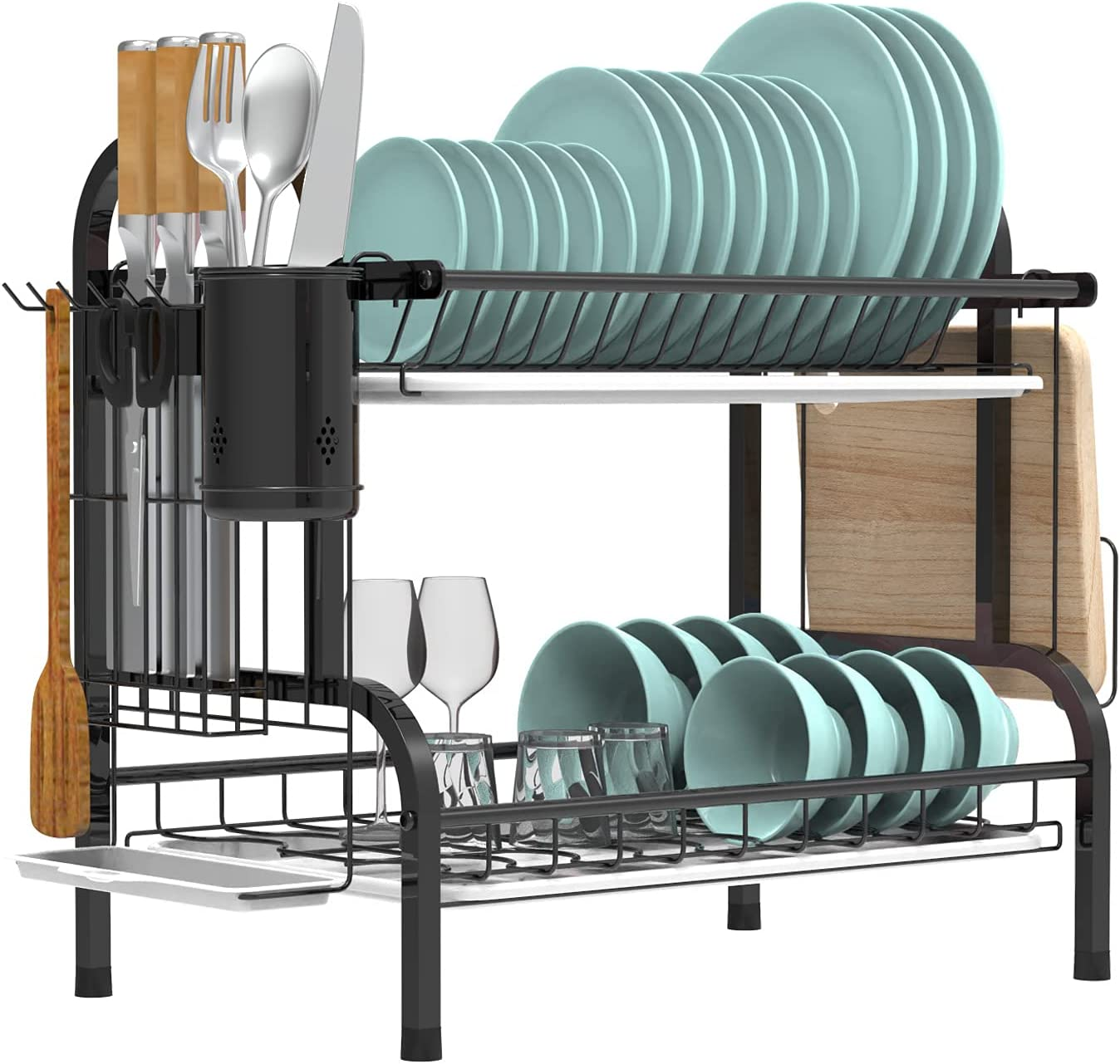 Dish Ranking integrated 1st place Max 55% OFF Drying Rack Mamgaa 2 Set Drainboard for with Tier