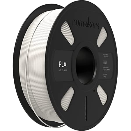 NUMAKERS PLA 3D Printer Filament, 1.75mm, Dimensional Accuracy +/- 0.03 mm, 1 kg Spool (2.2 lbs), Compatible with Most FDM Printers (White)