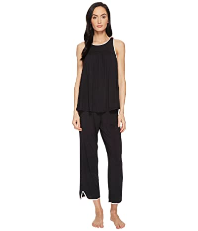 Kate Spade New York Black Cropped PJ Set (Black) Women