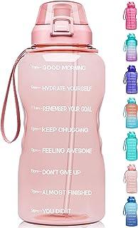 Fidus Large 1 Gallon/128oz Motivational Water Bottle with Time Marker & Straw,Leakproof Tritan BPA Free Water Jug,Ensure Y...
