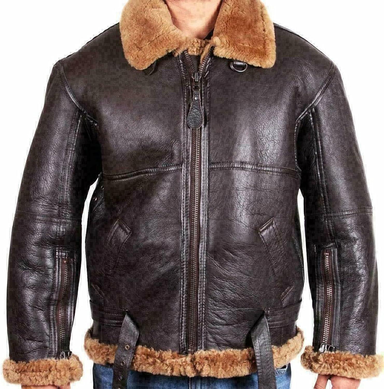 B3 Bomber Shearling Jackets Raf Aviation WW2 Flight Flying Pilots Brown Fur and Sheepskin Jacket