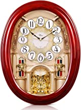 WallarGe Musical Wall Clocks with Rotating Pendulum, Decorative Wall Clock,Magic Motion Clocks,Wooden Frame,18 Melodies, for Home, Hotel, Library or Church décor. (Extra Large)