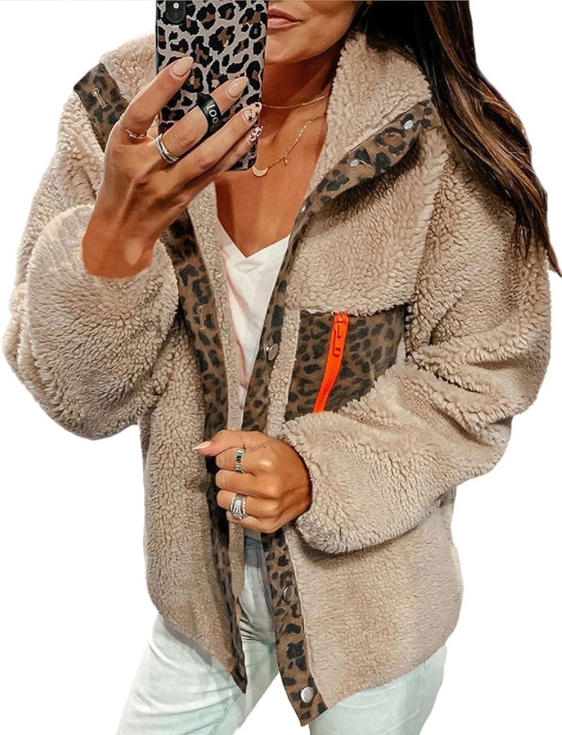 Peaceglad Womens Winter Oversized Fleece Fuzzy Leopard Jackets Long Sleeve Button Faux Wool Cardigan Coats