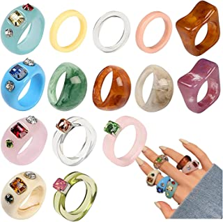 Resin Rings Acrylic Ring Retro Chunky Rings Set Cute Colorful Rings for Women Band Statement Rings for Women Girls