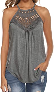 Bluetime Women's Summer Halter Spaghetti Strap Lace Flowy Tank Tops Cami Shirts