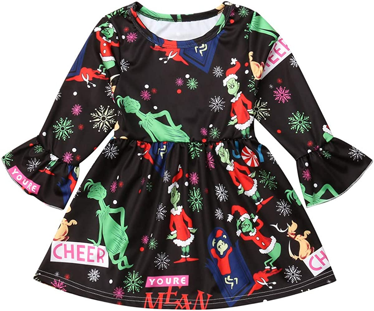 Xmas Long Sleeve Pleated Top Dresses BAOSHI1 Kid Toddler Girls Christmas Flare Sleeve Dress