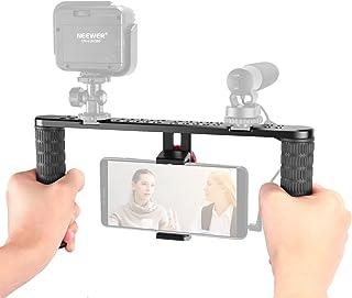 Neewer Metal Smartphone Video Rig,Filmmaking Recording Vlogging Rig Case,Handheld Grip Stabilizer with Cold Shoe Mount for...