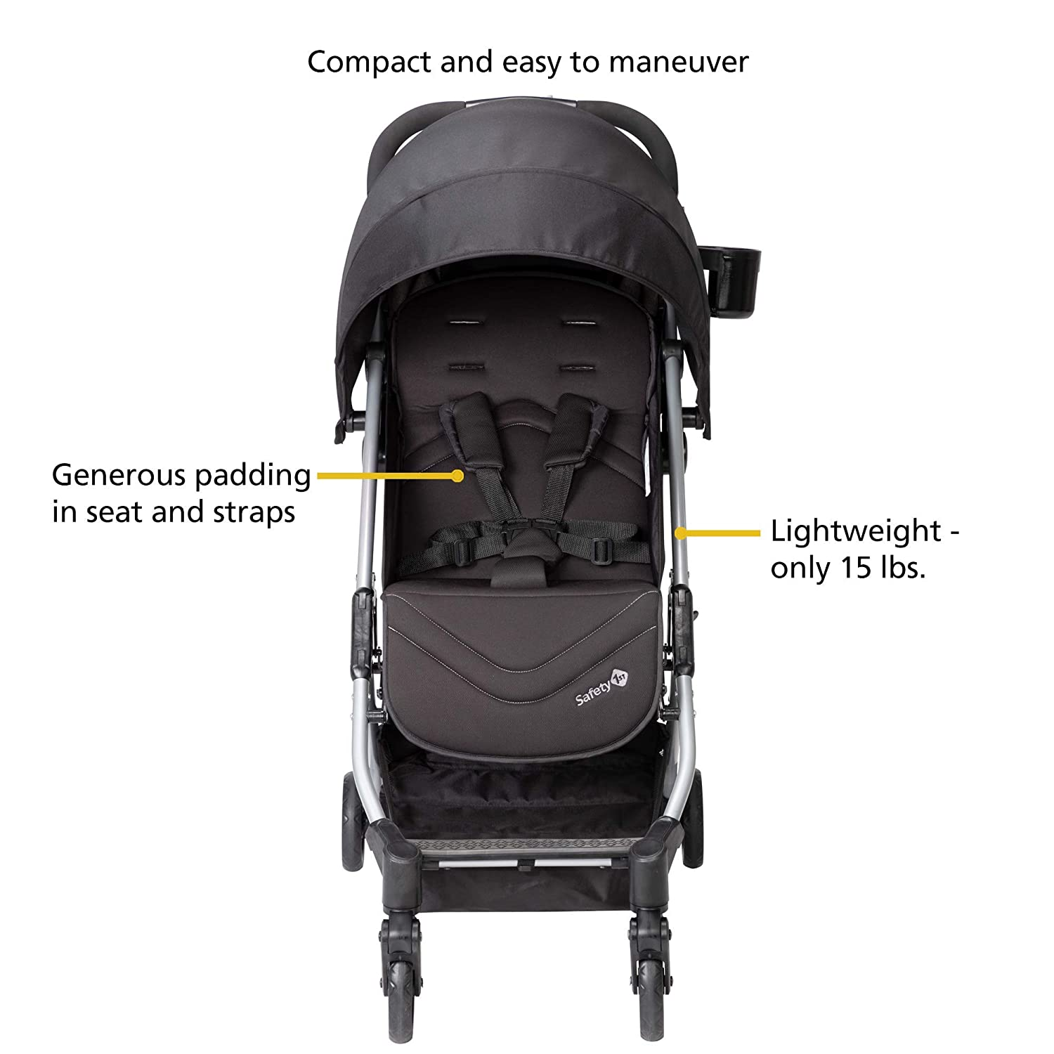 Safety 1st Teeny Ultra Compact Stroller, Black Magic, One Size
