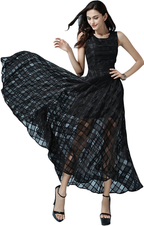 Unomatch Women's Sleeves Jacquard Dress Black