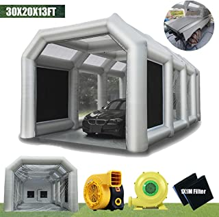 LuckyWe Inflatable Spray Booth Car Paint Room Large Spray Tent 30x20x13FT with 2 Blowers Painting Booth for Spray Paint Car Parking Tent Portable Garage with Filter System