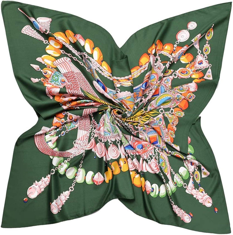 Women's Large Silk Scarf Square Head Scarfs 130cm (color   Green, Size   130  130cm)