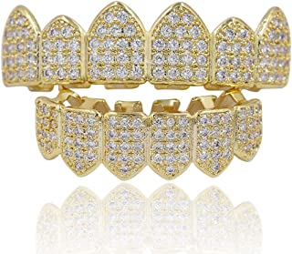Gioielli Moca Hip Hop Unisex placcato in oro 18 carati Ghiacciato CZ Diamante simulato Top Bottom Denti Grill Set per uomo...