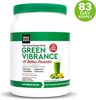 Vibrant Health, Green Vibrance, Plant-Based Superfood Powder, 25 Billion Probiotics Per Scoop, Vegetarian and Gluten Free, 83 Servings (FFP)