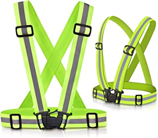Safety Reflective Vest 2 Pack, Elastic Adjustable, Lightweight 360° High Visibility Green Reflective Vest for Motorcycle, Cycling, Night Walking Running for Kids Man Woman
