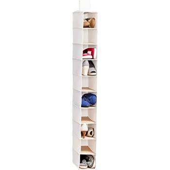 Amazon Com Zober 10 Shelf Hanging Shoe Organizer 1 Pack Hanging Closet Shoe Organizer With Side Mesh Pockets Space Saving Shoe Holder Storage Closet Organizer Great For Shoes Purses Handbags Etc Home