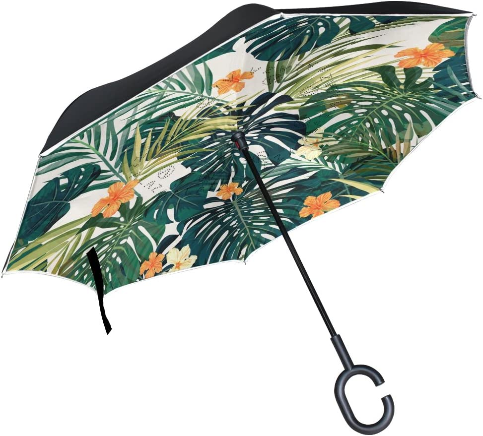 Bargain sale senya Double Layer Inverted Umbrellas Tropical Plants and Industry No. 1 Hibisc