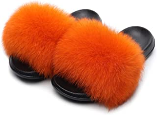 HONGTEYA Real Fox Fur Slides Sandals for Women 20+ Styles Toddler Girls Feather Slip On Summer Furry Slippers Flip Flops Shoes Flats