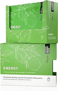 Vit2go ENERGY (10 sobres) - Bebida energética con cafeína (124 mg). guaraná y taurina. Complejo vitamínico con minerales (8 vitaminas B y aminoácidos esenciales. magnesio. calcio. zinc). vegano