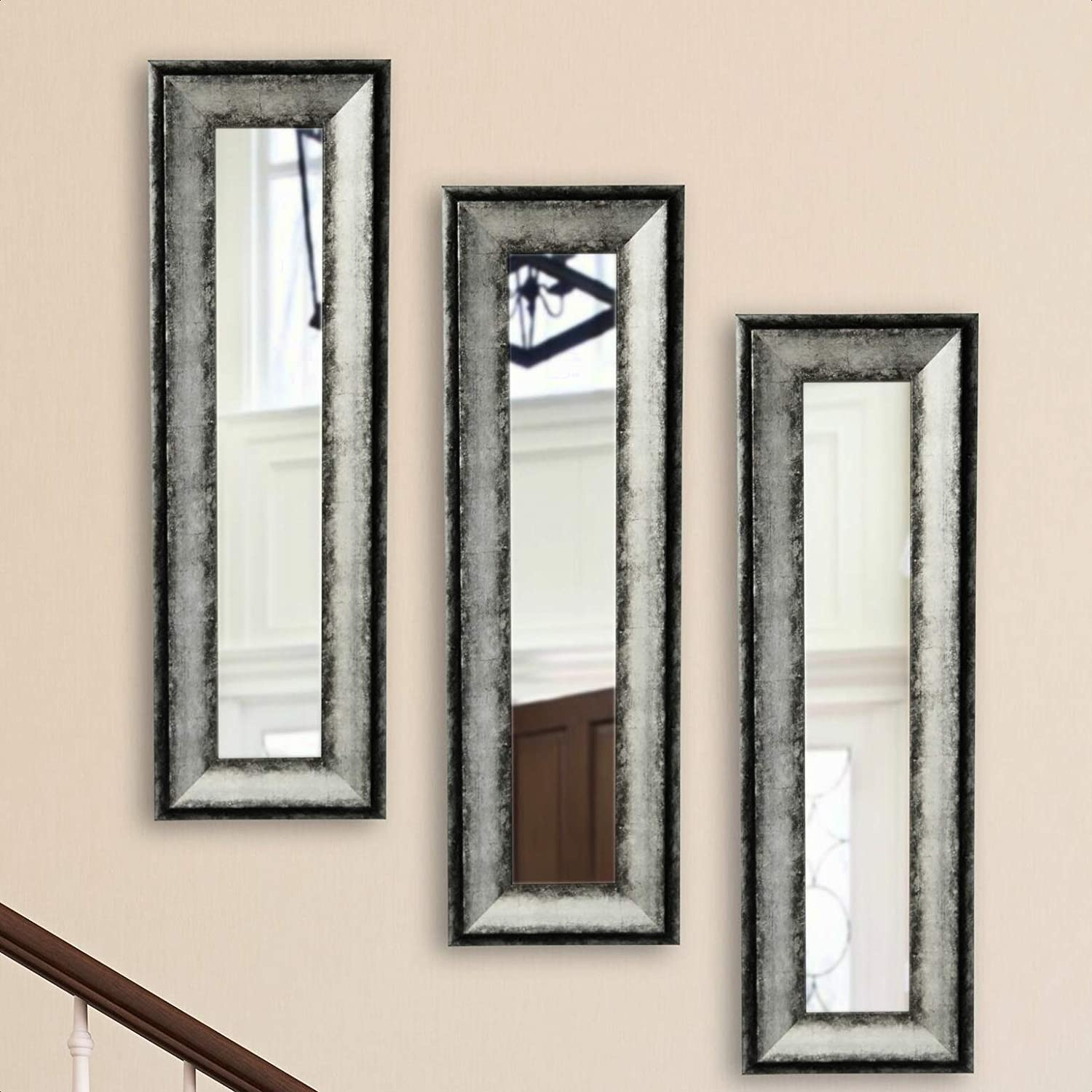 3 Piece Charcoal Panel Modern Directly managed Portland Mall store Contemporary S Distressed Mirror