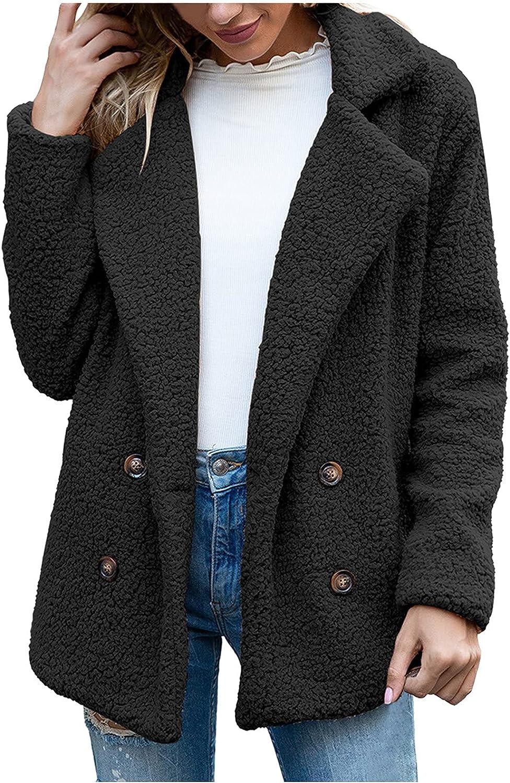 ViYW Women's Coat Casual Lapel Fleece Fuzzy Faux Shearling Zipper Coats Warm Winter Oversized Outerwear Jackets