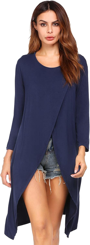 Beyove Women Sexy Long Sleeve Open High Front Split Clubwear Maxi Dress Tunic Tops
