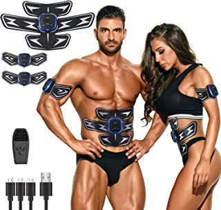 LANCS Muscle Toner Trainer Abdominal Body Toing Belt USB Device Weight Loss Workout Fitness Rechargeable Equipment Men Women