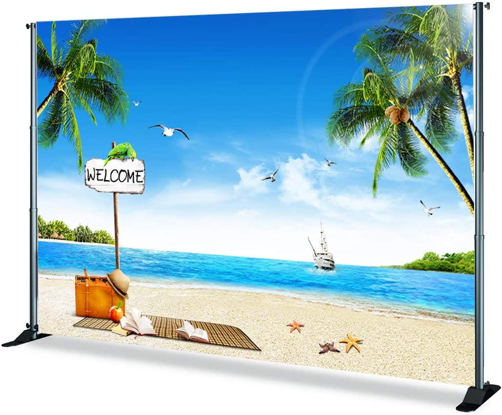 Levoo Flannel Beach Palm Tree Summer Blue Sky Background Banner Photography Studio Birthday Family Party Holiday Celebration Romantic Wedding Photography Backdrop Home Decoration 10x10ft,sxy296-1
