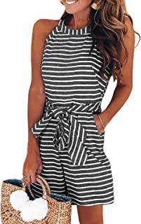 7260b1caf70 Dearlove Casual Striped High Neck Sleeveless Wide Leg Belted Rompers  Jumpsuits with Pockets