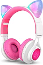 Bluetooth Headphones, Riwbox CT-7 Cat Ear LED Light Up Wireless Foldable Headphones Over Ear with Microphone and Volume Co...