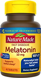 Nature Made Melatonin 10 Mg Tablets, Mixed Berry 45 Count (Pack of 1)