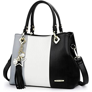 Handbags for Ladies with Multiple Pockets in Pretty Colour Combination (Light Grey/White/Black)