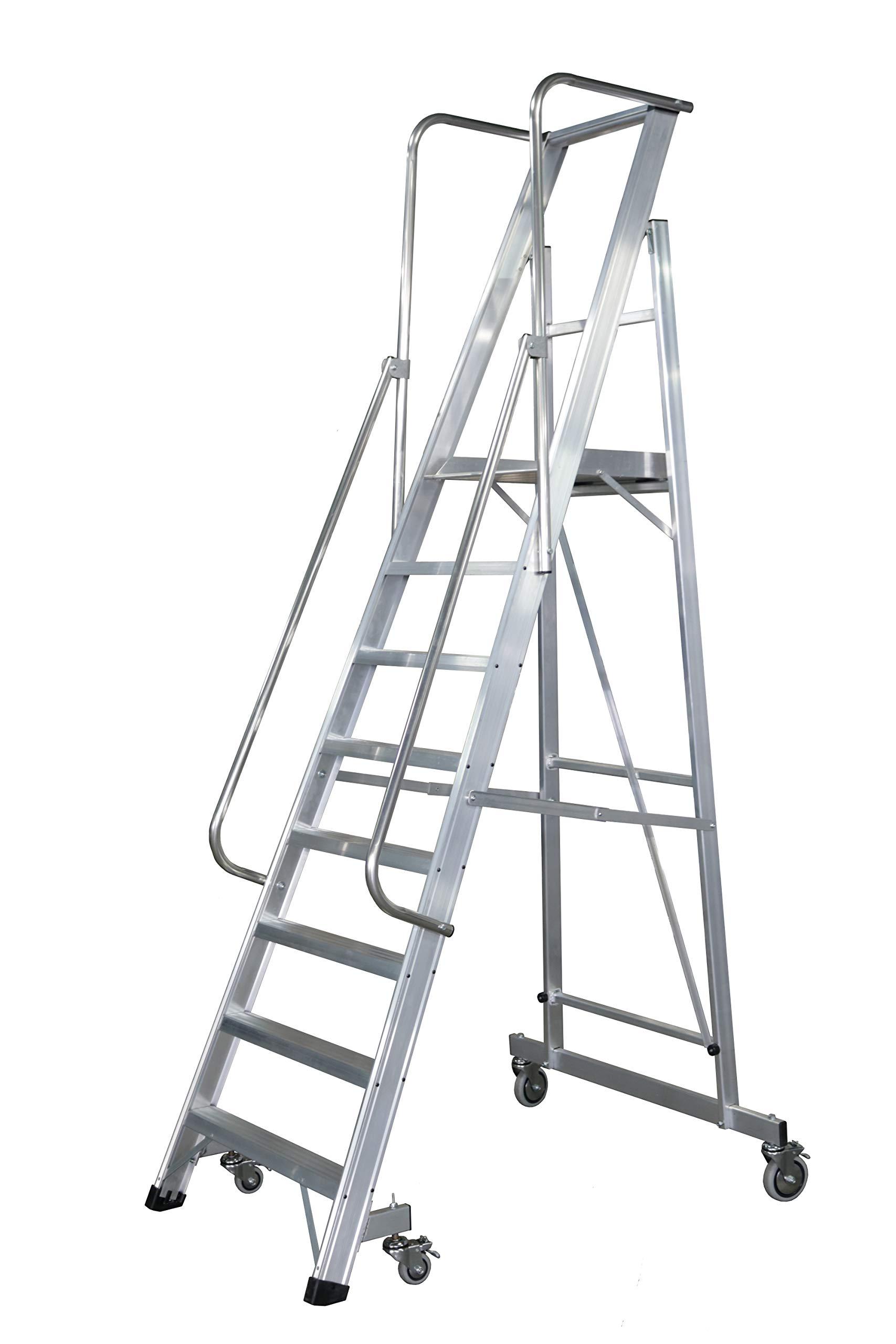 KTL Escalera Plegable con Plataforma y guardacuerpos 8 peldaños móvil Profesional Serie 2XL-s: Amazon.es: Hogar