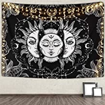 Ucio Wall Tapestry for Bedroom, Sun and Moon Tapestry Burning Sun with Star Tapestry Psychedelic Tapestry Black and White ...