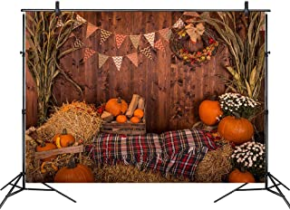 LB Fall Thanksgiving Backdrop Rustic Wood Wall Photo Backdrop for Photoshoot 7x5ft Vinyl Autumn Pumpkin Harvest Background Customized Photo Booth Backdrop Studio Props
