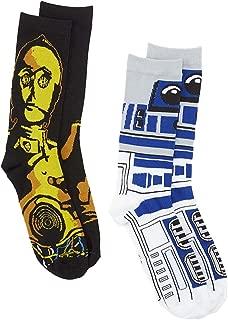 R2-D2 C-3PO 2 Pair Pack Crew Socks