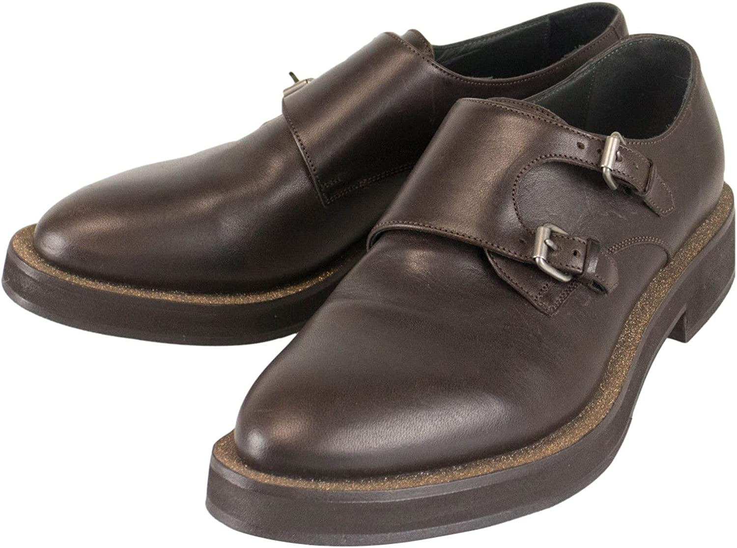 Brunello Cucinelli Brown Leather with Glitter Double Monkstrap shoes Size 35.5 5.5