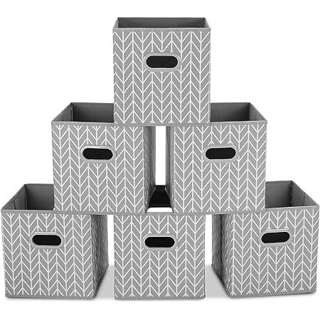 MaidMAX Boîtes de Rangement Ouvertes, Tiroir en Tissu,Cubes de Rangement en Tissu, Pliable Organisateurs conteneurs, Boîtes Tiroirs avec Poignée en Plastique, Gris, Pack de 6, 26,6 x 26,6 x 27,9 cm