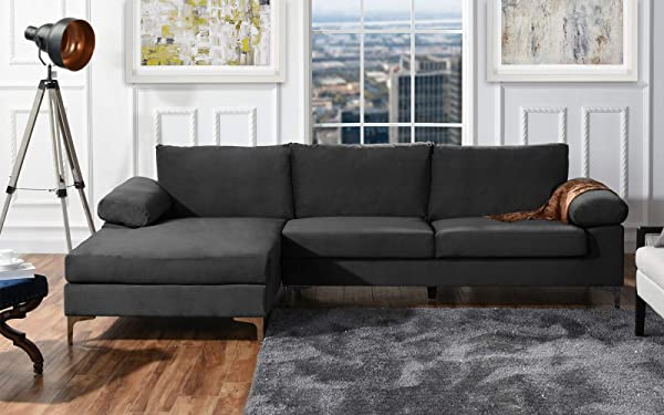 Modern Large Velvet Fabric Sectional Sofa L Shape Couch With Extra Wide Chaise Lounge Grey