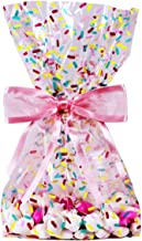 Saybrook Products Donut Sprinkles Cellophane Treat/Party Favor Bags with Hot Pink Twist-Tie Organza Bow. Set of 10 Gussetted 11x5x3 Goodie Bags with Bows. Multi-Color