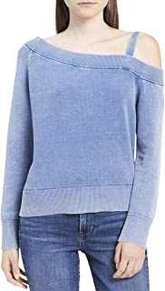 Jeans Women's Faded Cotton One Shoulder Sweater
