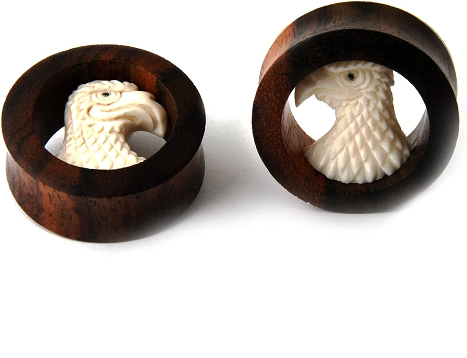 JewelryVolt Pair Double Flared Dark Brown Plugs Sawo Clearance SALE Limited time Wood shopping H with
