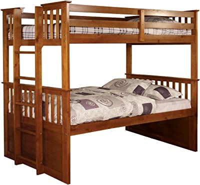 Furniture of America Ulysses Bunk Bed, Twin Over Twin, Oak Finish