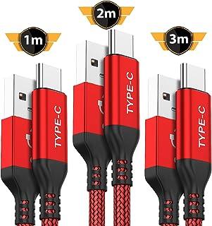 Cable USB Tipo C AKOADA [3 Piezas 3M 2M 1M] Cable de Carga de Nylon para Samsung Galaxy S10 S9 S8 Plus, Grado 10 9 8, A3 A5 2017, LG G5 G6 V20, HTC 10 U11,Huawei Honor 8 9, P20 Lite P10, etc. (Rojo)