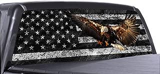 P&L ART。 イーグル アメリカ国旗 ウィンドウデカール トラック用 穴あきビニール グラフィック ラップ ステッカー 剥がして貼るだけ ティント