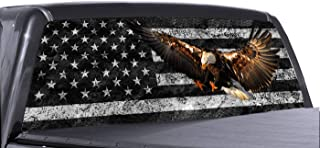 P&L ART. Eagle American Flag Window Decal for Truck, Perforated Vinyl Graphic Wrap Sticker, Removable Easy Peel and Stick Tint